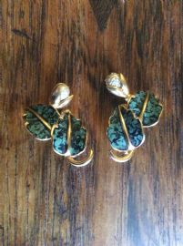 1950s Leaf and Frosted Pearl Clip On Earrings (sold)